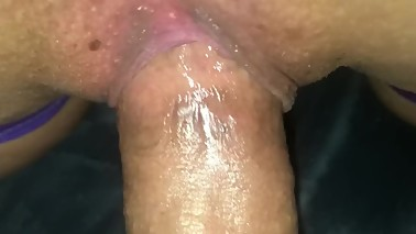 Gripping pussy close up. Bound wife takes wide cock. (Squirt)