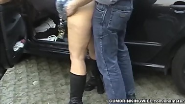 Dogging wife gangbanged in the parking lot