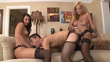 Mother In Law And Wife Give Him Strapon Session