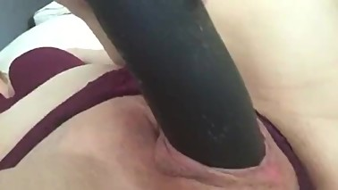 Being a good hot wife creaming on Mandingo BBC dildo