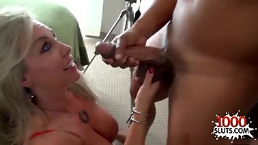 Hot wife handjob and cumshot
