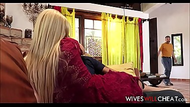 Blonde MILF Stepmom Aaliyah Love Caught Cheating By Husband With His Son