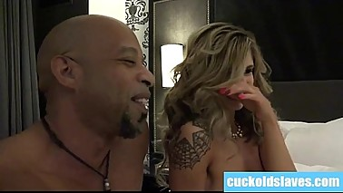 Cuckold licks black cum out of wifes asshole