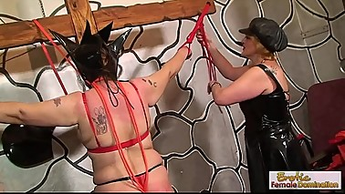 GILF bondage, hoods, and ass-whipping sexiness